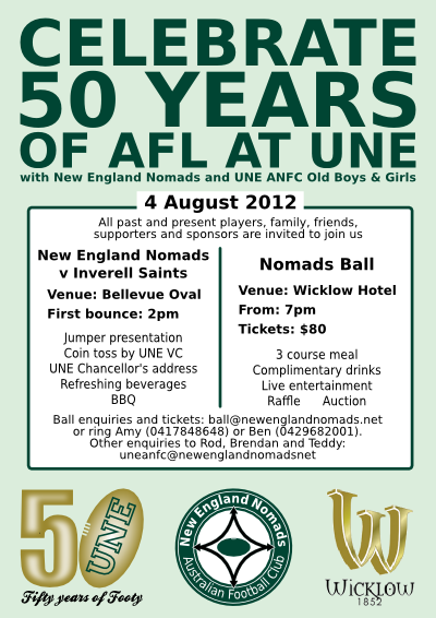 Celebrate 50 years of footy at UNE on 4 August at the UNE ANFC Old Boys and Girls Day and the Nomads Ball
