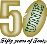 Celebrating 50 years of AFL at UNE logo