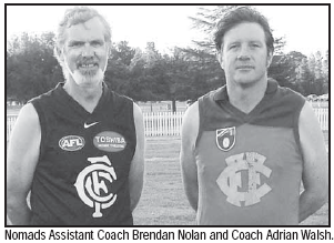 Nomads Assistant Coach Brendan Nolan and Coach Adrian Walsh