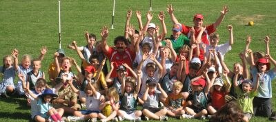 Armidale Auskickers. The big kids are Dipper and Craig Collins.