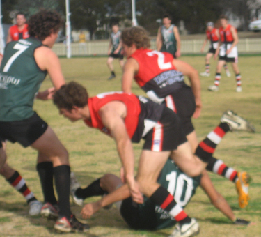 Weston Whitby (#10) was often the focus of Inverell defenders...midfielders and anybody else nearby