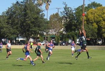 Tyrone Dimer taking a mark at Gunnedah, round 4 2008